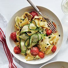 Silky Pappardelle with Zucchini Ribbons | MyRecipes.com