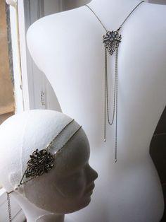 Collier bijou de dos pour mariage style rétro inspiration gatsby, années folles 1920's perles swarovsky et feuillage : Collier par les-bijoux-d-aki