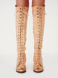Joe Lace Up Boot | Leather over-the-knee lace-up boots. Metal eyelet detailing. Short zipper on the inner sides. Stacked wood heel.