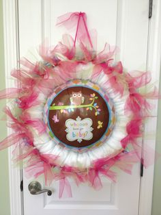 Owl Balloon Baby diaper wreath