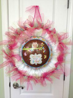 Owl Balloon Baby diaper wreath