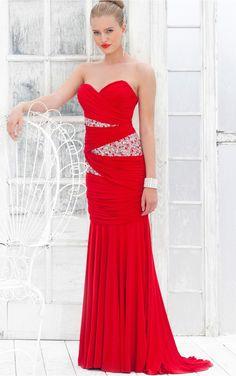 Red Mermaid Floor-length Sweetheart Dress [Dresses 10078] - $223.00 :