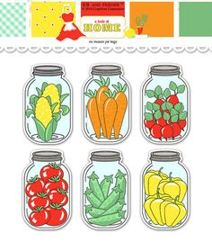 Digital Vegetable Mason Jar Tags / collage sheet by KBandFriends, $4.00