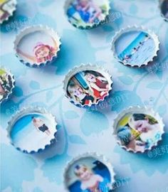 For one of kind refrigerator magnets. Paint bottle caps with magnets on back put small pics in caps.