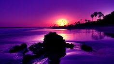 Beaches at Night Purple | If this wallpaper resolution smaller then your screen resolution,