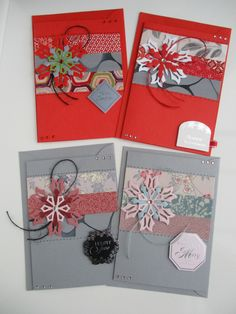 2 Christmas cards made using vintage Japanese silk kimono fabric - C6 size - two sets available. by Jasuin on Etsy