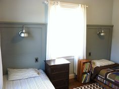 DIY Twin headboards with lamp barn light. can we do this with pretty, girly lamps? Reclaimed Headboard, Headboard Lamp, Twin Headboard, Diy Headboards, Teen Girl Bedrooms, Barn Lighting, Diy Bed, New Room, Photoshop