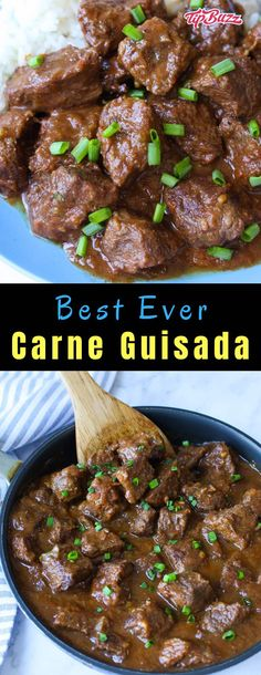Carne Guisada is the ultimate Mexican beef stew made with chuck steak onions garlic green bell pepper tomatoes and seasoned with cumin salt and pepper It s a delicious Tex Mex main you can make on the stovetop or crock pot for dinner a potluck or a party Crock Pot Recipes, Stew Meat Recipes, Mexican Food Recipes, Cooking Recipes, Mexican Meat, Mexican Stew, Easy Recipes, Stewing Beef Recipes, Cubed Beef Recipes
