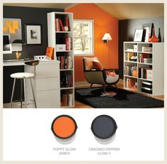 For an energized office, orange accents in a modern, black and white setting provide an edgy, spirited atmosphere. | @BEHR colorfullybehr.com