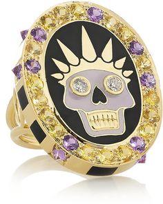 Holly Dyment Thursday 18-karat gold, enamel, diamond and sapphire ring on shopstyle.com
