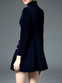 Buttoned Stand Collar Mini Dress great with some leggings