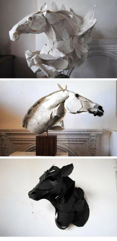 Paper sculptures by Anna Wili Highfield. She has an amazing ability in creating beautiful creatures that move just with pieces of paper!......... TEACHERS - this artist is great for intermediate/advanced levels of sculpture, understanding the smaller units of a whole (even when simplified for elementary/MS students), and movement.