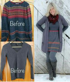 2 sweaters to sweater dress