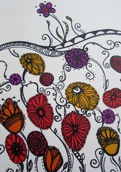 Art journal page - alcohol inks and pen by whimsical dream, via Flickr