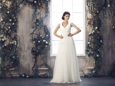 V Neck Ivory Court Train Sheath Column Wedding Dress B50191