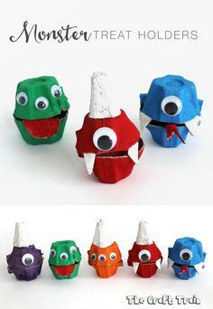 Egg Carton Monster Treat Holders