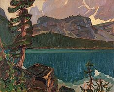 """Lake O'Hara,"" J. MacDonald, ca. oil on cardboard, National Gallery of Canada Tom Thomson, Group Of Seven Artists, Group Of Seven Paintings, Canadian Painters, Canadian Artists, Landscape Art, Landscape Paintings, Landscapes, Emily Carr Paintings"