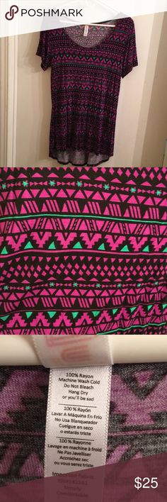 Lularoe Classic T Super cute Aztec print! Only worn a few times and got lots of compliments! LuLaRoe Tops