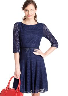 ideeli | MARC NEW YORK Short-Sleeve V-Neck Panel Slit Skirt Dress