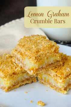 Lemon Graham Crumble Bars - a delicious combination of lemon & coconut with the flavour bonus of graham cracker crumbs incorporated into the crumble layers. Graham Cracker Dessert, Graham Cracker Recipes, Graham Cracker Cookies, Graham Crackers, Graham Cracker Crumbs, Lemon Dessert Recipes, Lemon Recipes, Cookie Recipes, Fruit Recipes
