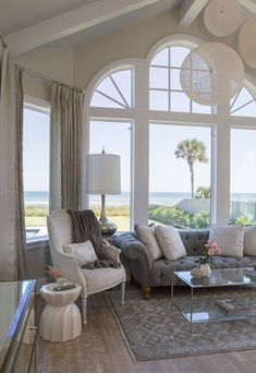 Shingle Style Gambrel Beach House Master Bedroom Seating Area. #HomeDecorBedrooms