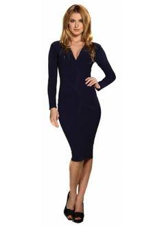 Jen Navy Stretch Jersey Body Con Midi Dress