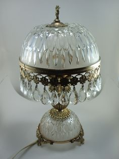 Antique French Glass Crystals Table Light Bedside Parlor Lamp   eBayEmporio Armani Classic Watch   Brass table lamps  Makeup rooms and  . Antique French Lamps On Ebay. Home Design Ideas