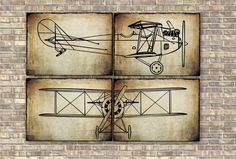 Airplane Prints set of 4 pieces, Nursery Art Decor, Wall Art Decor, Aviation Poster, Transportation print, Vintage Airplane print