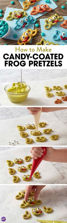 Jump into fun with these cute Candy-Coated Frogs made from pretzels and Candy Melts candy. A fun snack for kids or a cute edible favor for animal-themed birthday parties, these little frogs are a fun project for decorators of all skill levels. Use your favorite colors of Candy Melts candy to create frogs in all colors of the rainbow!