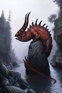 Bukavac is a demonic mythical creature in Slavic mythology. Belief in it existed in Srem. Bukavac was sometimes imagined as a six-legged monster with gnarled horns. It lives in lakes and pools, coming out of the water during the night to make a loud noise Alien Creatures, Magical Creatures, Fantasy Creatures, Fantasy Dragon, Dragon Art, Fantasy Art, Red Dragon, Fantasy Monster, Monster Art