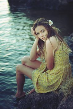 picture perfect... beautiful girl by the lake in a dity print yellow dress and a flower in her hair... can it get more serene than this!
