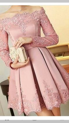 Pink Lace Homecoming Dresses,Off Shoulder Homecoming Dresses, Appliques Homecoming Dresses, Homecoming Dresses - Thumbnail 1 Lace Homecoming Dresses, Prom Party Dresses, Evening Dresses, Beaded Dresses, Elegant Dresses, Pretty Dresses, Beautiful Dresses, Beautiful Beautiful, Gorgeous Dress