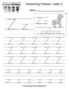 "This is a letter Z tracing worksheet. Children can trace uppercase and lowercase letters and the word ""zebra."" You can download, print, or use it online. Free Printable Alphabet Worksheets, Alphabet Writing Worksheets, Handwriting Worksheets For Kids, Alphabet Writing Practice, English Worksheets For Kindergarten, Kindergarten Writing, Writing Sentences, Handwriting Practice Free, Hand Writing"