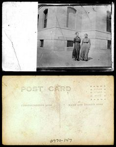 Two young women standing in front of building    xxxx  State Archives #0770-147