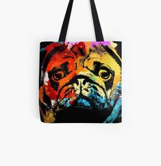 Pug animal print tote bag. Watercolor art work for dog lovers. Animal Print Tote Bags, Beagle Art, Dog Artwork, Best Dad Gifts, Cat Dad, Cute Pugs, Cat Colors, Baby Owls, Watercolor Art