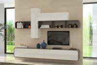 Détails Composition tv murale COBRA noyer et blanc brillant