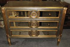 Silver and Gold Mirrored Chest Dresser Nightstand with Gold Gilding