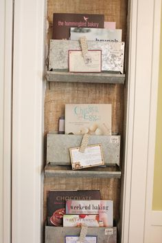 chicken feeder mail/book holders with magnetic note holders! this would be cute in my sewing room for misc craft stuff. I have some old rabbit feeders that would work for this. Woodworking Guide, Custom Woodworking, Woodworking Projects Plans, Cookbook Storage, Cookbook Holder, Rabbit Feeder, Hummingbird Bakery, Burlap Background, Chicken Feeders
