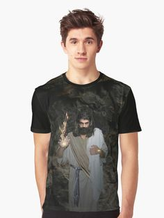 Jesus - I Am The Resurrection And The Life T-Shirts by Artist Alex Acropolis Calderon of Angelicus a Christian Online Store of many products depicting the likeness of Jesus Christ.