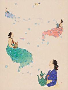 신선미 작품 - SUN Korean Hanbok, Kingdom Come, Korean Artist, Asian Art, Arts And Crafts, Artists, Drawings, Illustration, Artwork