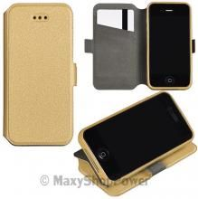 CUSTODIA BOOK COVER SILICONE FLIP CASE LIBRO ORIZZONTALE APPLE IPHONE 5 5S GOLD ORO - SU WWW.MAXYSHOPPOWER.COM