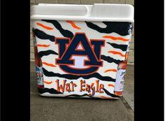 COOLERSbyU Painted Cooler Examples | Auburn War Eagle College Cooler | Tags: auburn, ware eagle, college, cooler Painted Coolers, Fraternity Coolers, Cooler Painting, Auburn, Painting Inspiration, Eagle, College, War, University