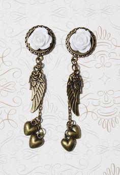 Dream Angel White Wedding Plugs 2g 0g 00g 7/16 1/2 Pick by ryarr
