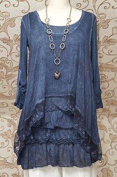 Stunning blue tunic dress quirky italian lagenlook/layering top one size Mode Hippie, Mode Boho, Look Fashion, Womens Fashion, 90s Fashion, Winter Fashion, Estilo Hippie, Layered Tops, Mode Outfits
