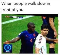 People walking slow