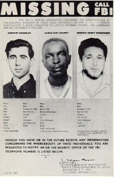 Three American civil rights' workers, James Earl Chaney, Andrew Goodman, and Michael Schwerner, were shot at close range on the night of June 21–22, 1964 by members of the Mississippi White Knights of the Ku Klux Klan, the Neshoba County's Sheriff Office and the Philadelphia Police Department in Philadelphia, MS. They had been working on the Freedom Summer campaign.  Click through.