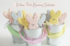 Polka Dot Bunny Cookies by Bee in our Bonnet--tutorial about how to frost neatly
