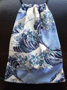 Hokusai Waves Drawstring Backpack on Etsy, $15.00