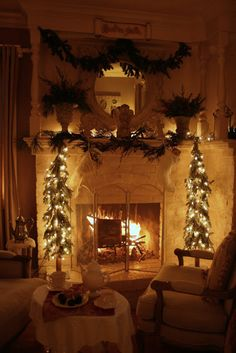 Beautifully decorated mantel and fireplace. #winter #christmas