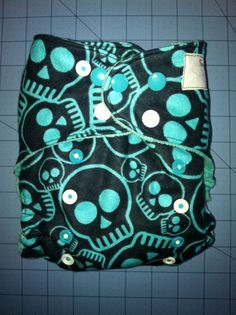 Skull Print Cloth Diaper by SewGreene on Etsy, $18.00